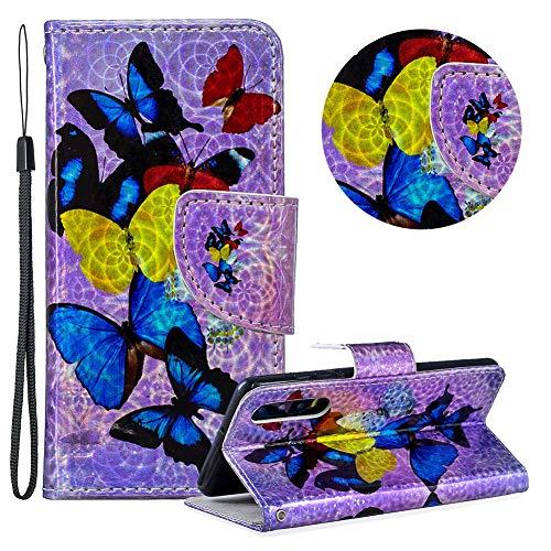Gurt Brieftasche für Huawei P30,Laser Wallet Handyhülle für Huawei P30,Moiky Ultra Dünn Stilvoll Bunt Schmetterling Muster Geprägt Klappbar Stand Silikon Handytasche