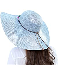 Urban GoCo Mujer Plegable Sombrero De Paja Moda Verano Sol Ala Ancha  Flexible Playa Anti- 0f8edf6fb21