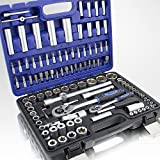 108 Teiliges Werkzeugkoffer Knarrenkasten Werkzeugset Werkzeugkasten Ratschenkasten Steckschlüssel Bit Imbus Werkzeug Set