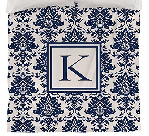 Manuelle holzverarbeiter & Weavers Bettbezug-, Monogramm Buchstabe K, Damast blau (King-size-bett Gerahmt)