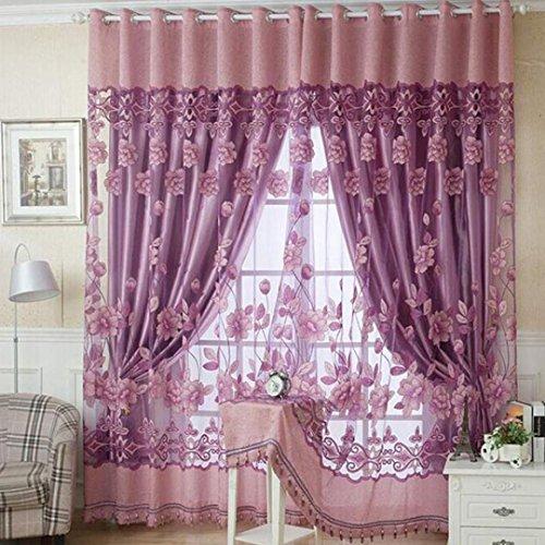 Bovake lusso con foro pendenti perline floreale tenda finestra stanza tenda sciarpa (rosa caldo)