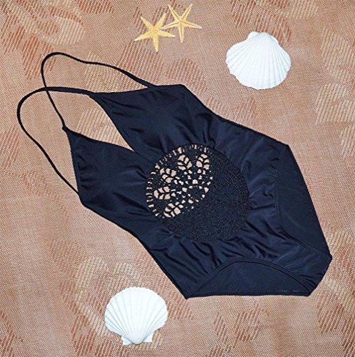 Pezzo bikini costume da bagno maglia cava Black