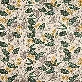 Fabulous Fabrics Halbpanama Leinenoptik Leopard & Lilie -