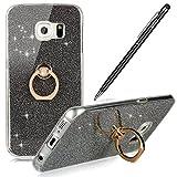 Galaxy S6 Edge Hülle,Galaxy S6 Edge Silikon Hülle,WIWJ Hülle Kristall Glitzer Durchsichtig mit Metall Ring Stand Ständer Handy Hülle Weich TPU Case für Samsung Galaxy S6 Edge-Schwarz