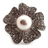 Unbekannt Übergroße mit Simuliert Pearl Daisy Cocktail Ring (Silber Tone Metall)–4cm Durchmesser