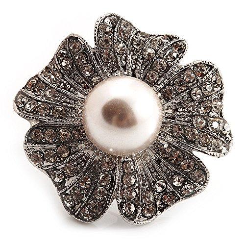 Unbekannt Übergroße mit Simuliert Pearl Daisy Cocktail Ring (Silber Tone Metall)-4cm Durchmesser