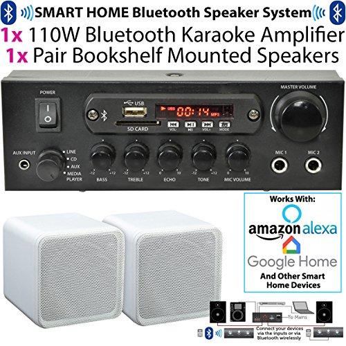 110W kabellos/Bluetooth Mini-Verstärker & 2x 80W weiß Bücherregal Lautsprecher–Home, Café, Bar, Restaurant Kompaktes Surround Sound HiFi-Set–kompatibel mit AMAZON Echo Dot–Cablefinder