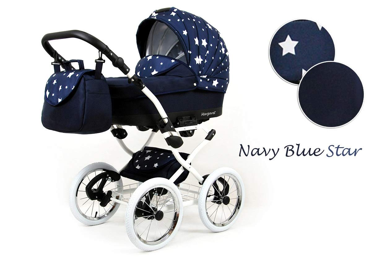 Travel System Retro Stroller Pram 2in1 3in1 Set Isofix Nostalgica by SaintBaby Navy Blue Star 2in1 Without Baby seat SaintBaby 3in1 or 2in1 Selectable. At 3in1 you will also receive the car seat (baby seat). Of course you get the baby tub (classic pram) as well as the buggy attachment (sports seat) no matter if 2in1 or 3in1. The car naturally complies with the EU safety standard EN1888. During production and before shipment, each wagon is carefully inspected so that you can be sure you have one of the best wagons. Saintbaby stands for all-in-one carefree packages, so you will also receive a diaper bag in the same colour as the car as well as rain and insect protection free of charge. With all the colours of this pram you will find the pram of your dreams. 1