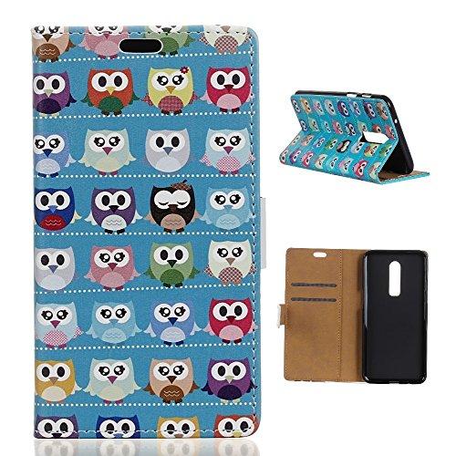 CoverKingz Handytasche für OnePlus 6 Handyhülle, Flip Case Cover, Schutzhülle mit Kartenfach, Handy Hülle Motiv Bunte Eulen