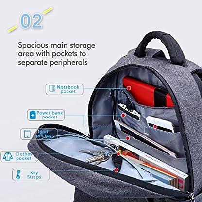 Fubevod Mochila de Ordenador portátil de negocios con cargador USB impermeable Bolsa de colegio negro