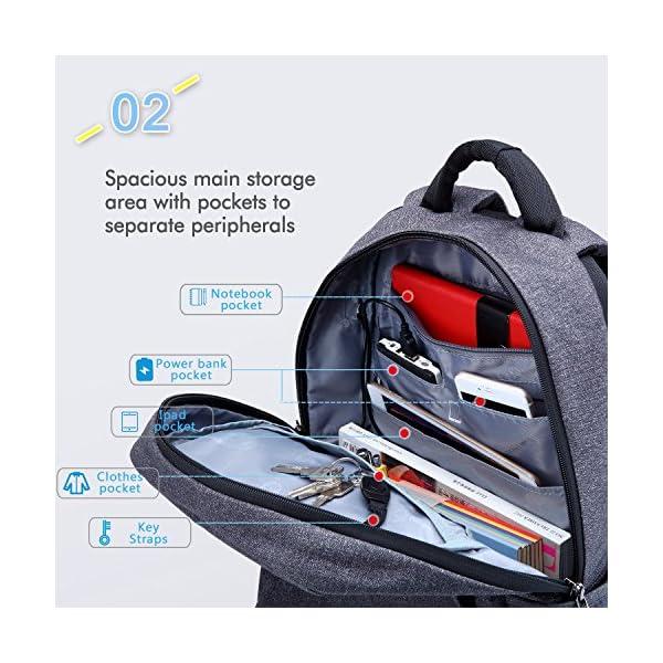 61eE8G07YFL. SS600  - Fubevod Mochila de Ordenador portátil de negocios con cargador USB impermeable Bolsa de colegio negro