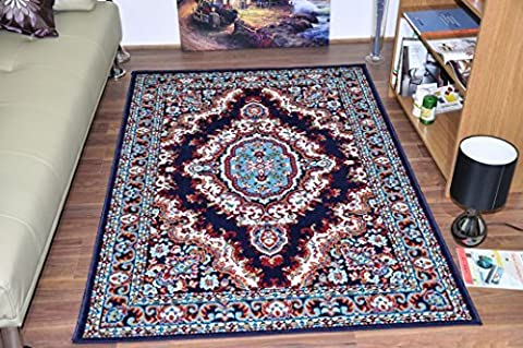 Large Traditional Medallion Quality Rugs 7 Colours & Sizes Soft Pile 100% Polypropylene Cheap Rug Mats (Navy Blue, 120x170 CM (4'x6'))
