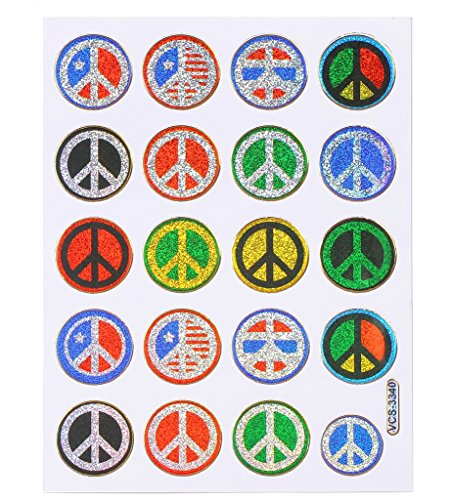 Sticker autocollants 2 feuilles PEACE 14 x 10 cm a feuille