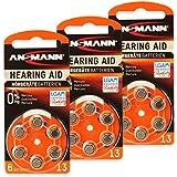 18 ANSMANN Hörgerätebatterien / 3x6er Packung Zink Luft Batterien mit 1,4V Typ 13 / Knopfzelle für Hörgeräte mit besonders langer Laufzeit