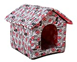 Hundehöhle Katzenhöhle Drucken Wasserdicht Hundehütte Hundebett Katzenbett Hundehaus Abnehmbares Dach Haustier Zwinger Yinglun B L