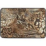 Raphaelont Alfombrilla de poliéster Antideslizante de 60 x 39 Pulgadas Impresionante Animal Leopardo Jirafa Cebra Mezcla Imprimir Alfombra de Entrada Lavable