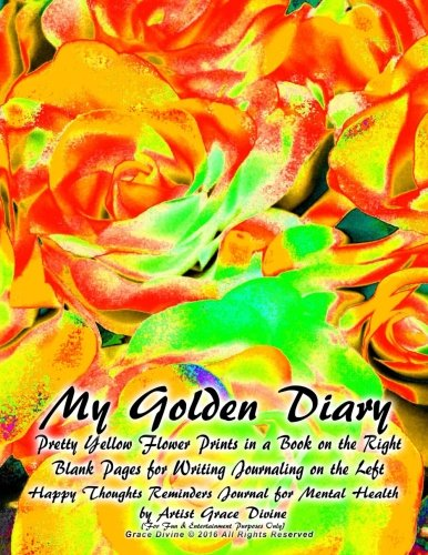 my-golden-diary-pretty-yellow-flower-prints-in-a-book-on-the-right-blank-pages-for-writing-journalin