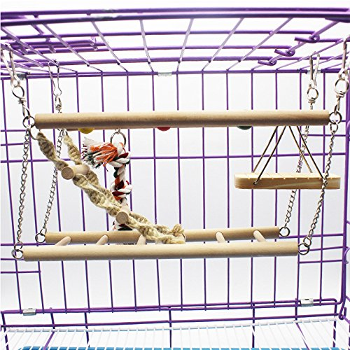 Zhuhaitf Natural Safe Pet Bird Cage Accessory Parrot Papagei Cockatiels Hanging Swing Stand Ladder Hammock Wooden Toys (Wooden Ladder Bird)