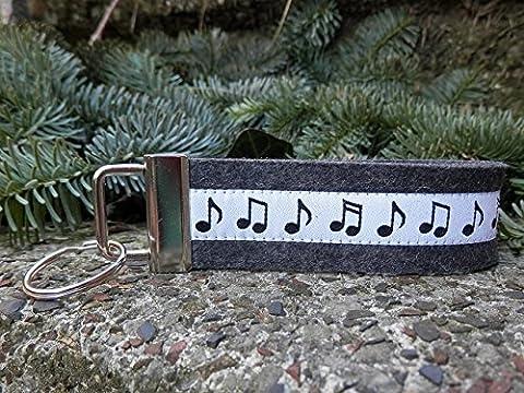 Schlüsselanhänger Schlüsselband Wollfilz anthrazit Noten Musik weiß schwarz!