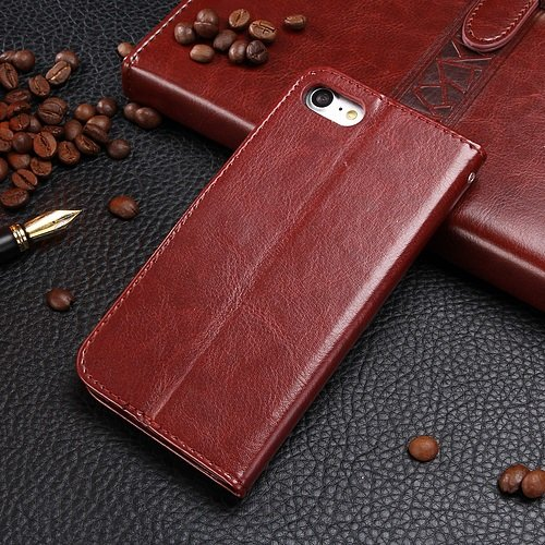 Wkae Case Cover iPhone Case 7, solide motif de couleur cas de style portefeuille magnétique de conception Flip Folio PU couverture en cuir cas de couverture standup pour iPhone 7 by DIEBELLEU ( Color  Brown