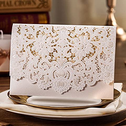Wishmade Wedding Invitations Kits 20PCS Horizontal Embossed Lace Floral Design Laser Cut Invites Cards for Marriage Bridal