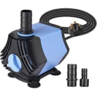 BAITAI 650L/H Water Feature Pump, 10W Submersible Water Pump for Fountains Pond Water Gardens and Hydroponic Systems with 2 Nozzles