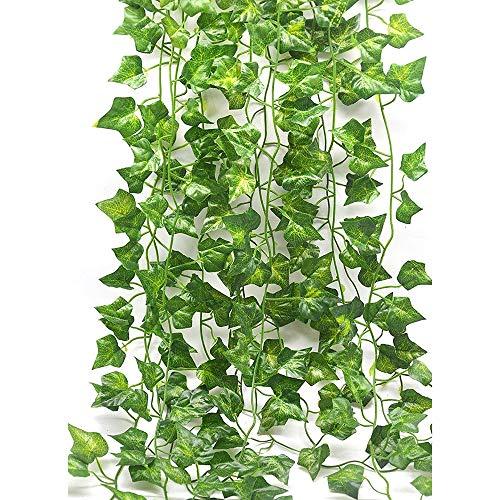 Pingxia 12 Stück 86ft Efeu Künstlich Hängende Rebe Pflanzen mit Künstliche Laub Grüne Blätter Gefälschte Pflanze für Hochzeit, Party, Garten, Festival Wand-Dekoration