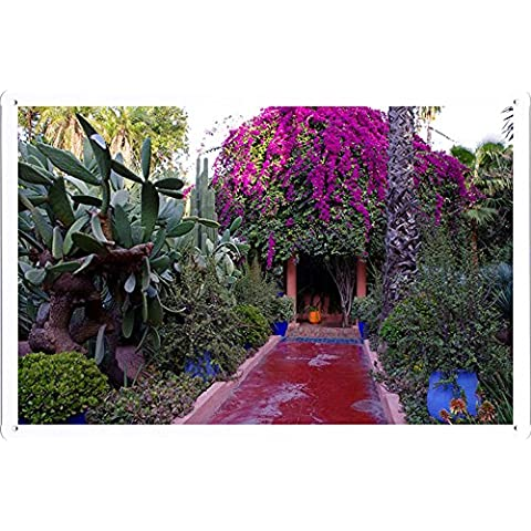 Metallo Poster Targa in metallo Piastra Path Arbor Flowers Pink Ivy Cactus 60448 Retro Vintage parete Décor by hamgaacaan (20x30cm)