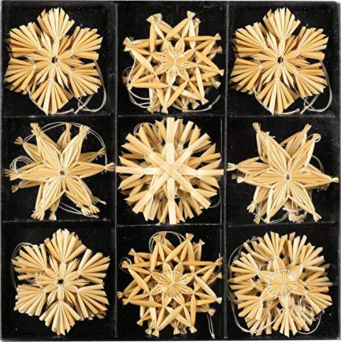 Annastore Strohsterne zum Hängen Mehrere Größen - Strohsterne Baumschmuck Christbaumschmuck (27 Strohsterne 6 cm)