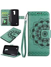 LG K8 PU Cartera de cuero funda de teléfono , ESSTORE funda de teléfono con soporte y magnético incorporado (incluye la ranura interna de la tarjeta) para LG K8, Verde