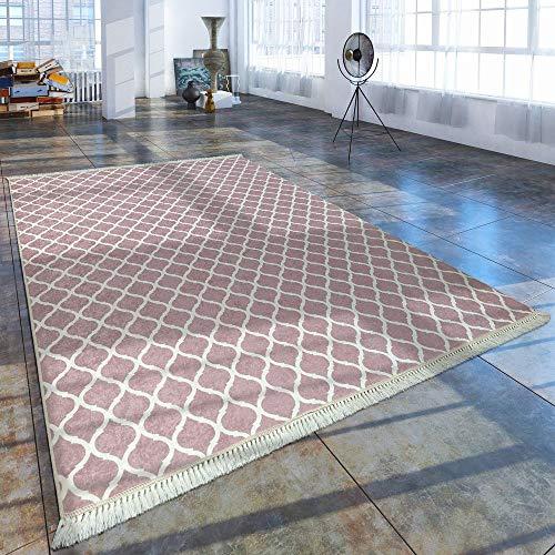 Paco Home Alfombra Moderna con Estampado Marroquí De Moda Rosa Blanco, tamaño:160x230 cm
