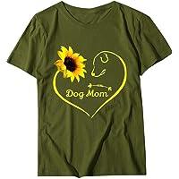 You are My Sunshine Cute Sunflower Graphic Inspirational Shirt Women Casual Basic Short Sleeve Tops Tee Ladies Graphic…