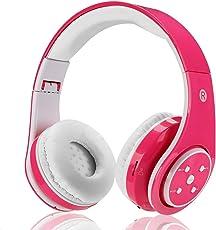 Kinder Kabellos Bluetooth Kopfhörer Volumenbegrenzung Safe Faltbarer Kopfhörer Mit Mikrofon Aux in SD Karten Für Smartphone PC Tablette (Rosa)-Votones