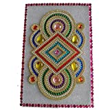 Generic Multi Color Square Shape Plastic Rangoli With Beautiful Stone Design With Pink Border 10 Inch X 20 Inch