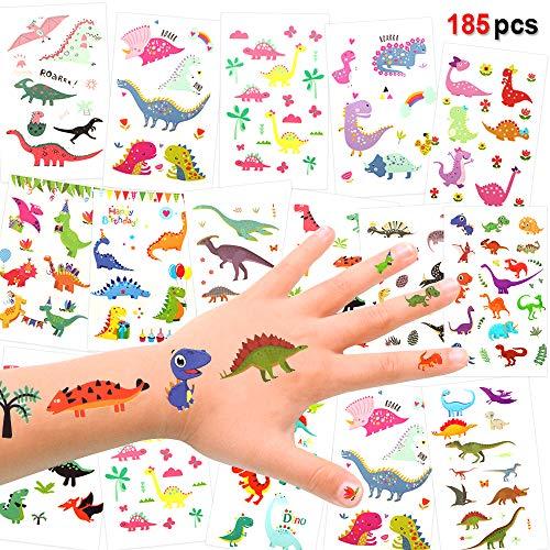 temporäres Tattoo (185designs), Dino Kinder Tattoo Set für Kinder, Mädchen, Jungen, Kindergeburtstags Party Mitgebsel, Dschungel Jurassic Face Body Sticker Aufkleber für Kinder ()