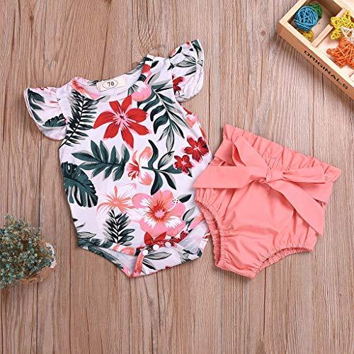 NEU! Tensay Säuglingsbaby-Fliegen-Hülsen-Blumen-Blatt-Druck-Knopf-Spielanzug-Bodysuit + Gürtel-Bowknot-Kurzschluss-Ausstattungen Skort Set Outfit