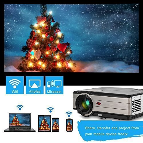 Wireless Home Theater Projector Android 4000 Lumen 200″ Support WiFi 1080p Full HD, LCD LED Video Projector with Speaker HDMI Cable Remote for USB Laptop Phone iOS DVD TV Xbox Netflix Blue Ray Player Online
