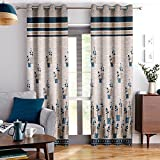 Story@Home Berry Blackout 1 Piece Jacquard Door Curtains for Living Room and Bed Room Contemporary Pattern - 7 Feet Long - Blue