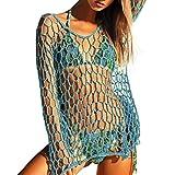 Jaminy DIY Frauen Häkeln Strand Vertuschen Fischnetz Sarong Wrap Bikini Handgemachte Kittel (Blau, L)