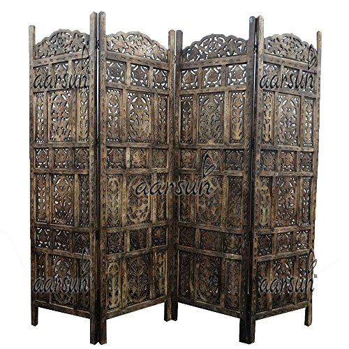 Aarsun-Room-Divider-HomeOffice-Partition-Screen-in-Mango-4-Panel-FoldableExtendable-Antique-Burnt-Wood-Finish-Gifts-for-Diwali-and-New-Year-Festival-Sale