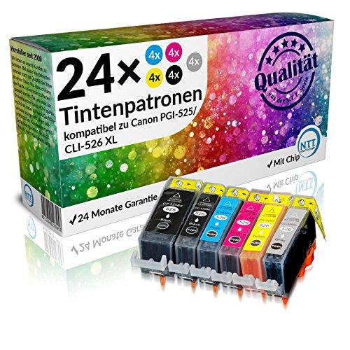 N.T.T.® 24 x STÜCK MIT CHIP 100% Qualität Druckerpatronen Tintenpatronen Tinte für Canon PIXMA MG6150 MG6250 MG8150 MG8250 MG6100 MG6150 MG6200 MG6250 MG8100 MG8150 MG8200 MG8250 MG8240 iX6550 MIT CHIP PGI-525BK / CLI-526C / CLI-526M / CLI-526Y und CLI-526BK / CLI-526GY