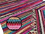 kufstein Bunter Teppich Handgewebt aus Indien Restbaumwolle Kelim in diverse Größen, Größe Teppiche:340 x 090 cm