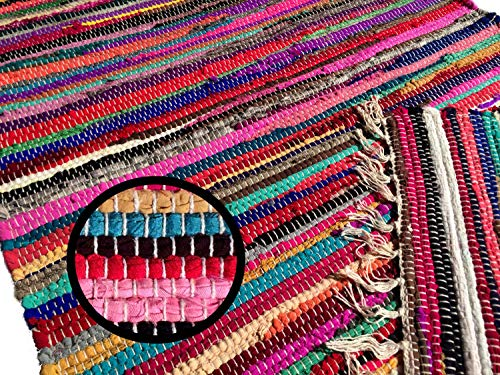 Fleckerlteppich Handgewebt ca 300 x 200 cm Kelim Beidseitig nutzbar 1800g/m Flickenteppich Webteppich Indien
