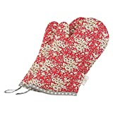 Neoviva Cotton Quilt Child Oven Gloves for Kitchen, Pack of 2, Floral Mandarin Red