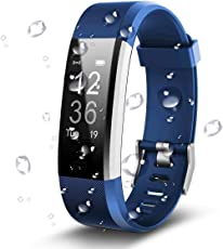 Antimi Fitness Armband, Wasserdicht IP67 Fitness Tracker, Pulsuhren, Schrittzähler, Kamerasteuerung, Vibrationsalarm Anruf SMS Whatsapp Beachten kompatibel mit iPhone Android Handy (Blau)