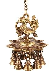 ONVAY Hanging Peacock Brass Diya with Bells   Home Decor