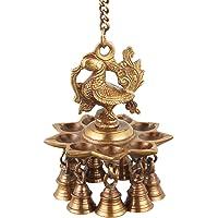 ONVAY Hanging Peacock Brass Diya with Bells | Home Decor