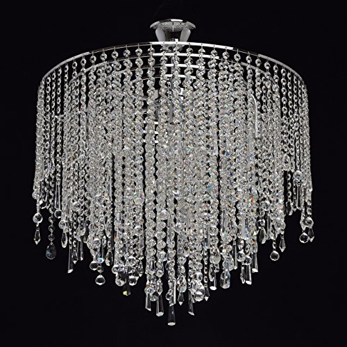 Lampadario da soffitto splendido colore cromo forma rotondo metallo gocce di pioggia cristalli trasparenti splendido (Art Deco Di Cristallo)