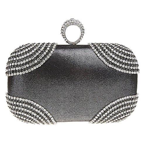 MNBS Damen Abendtasche Clutch Handtasche mit Kunstdiamanten auffällig Ring Strass Glitzer in 6 Farben