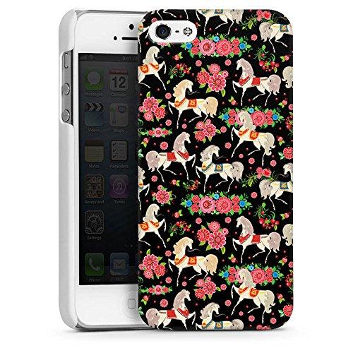Apple iPhone 5s Housse Étui Protection Coque Chevaux Fleurs Fleurs CasDur blanc